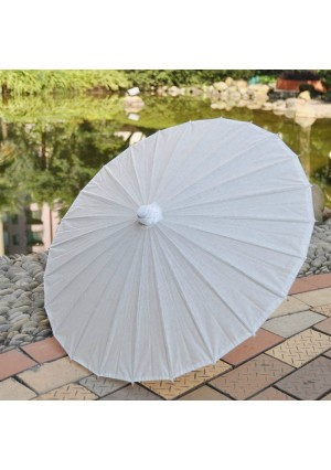 "A white paper parasol / umbrella with ribbon adult size 33"" wedding favor"