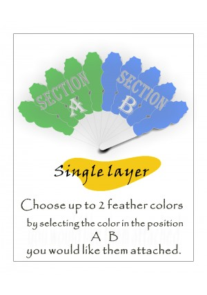 "Custom color & select 2 feather placement! single  layers Ostrich Feather Fan 25"" x 45"""