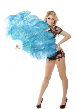 "sky blue 2 layers Ostrich Feather Fan Burlesque dancer friends 30""x 54""  with gift box"