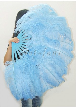 "Sky blue single layer Ostrich Feather Fan Burlesque friend 25""x45"" with gift box"