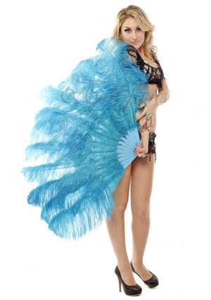"turquoise 2 layers Ostrich Feather Fan Burlesque dancer friends 30""x 54""  with gift box"