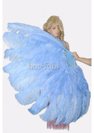 """Sky blue  XL 2 layers Ostrich Feather Fan Burlesque dancer friends 34""""x 60"""" with gift box"""