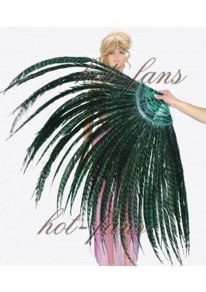 "Teal Luxury 71"" Tall huge Pheasant Feather Fan  Burlesque Perform Friend"