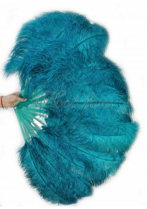 "Teal single layer Ostrich Feather Fan Burlesque friend 25""x45"" with gift box"