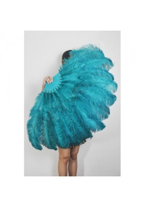 "teal 2 layers Ostrich Feather Fan Burlesque dancer friends 30""x 54""  with gift box"