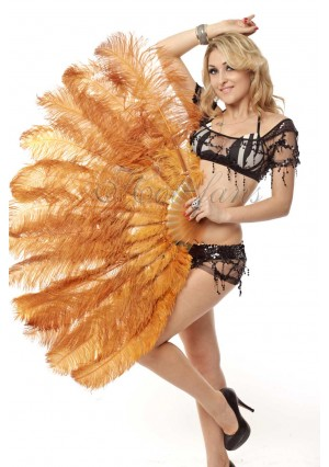 """topaz 2 layers Ostrich Feather Fan Burlesque dancer friends 30""""x 54""""  with gift box"""