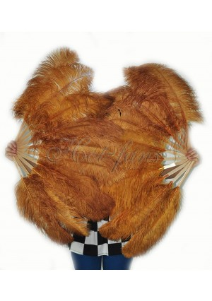 """A pair topaz Single layer Ostrich Feather fan 24""""x41"""" burlesque dancer with gift box"""