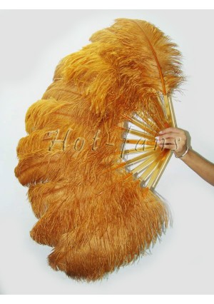 """Topaz single layer Ostrich Feather Fan Burlesque friend 25""""x45"""" with gift box"""