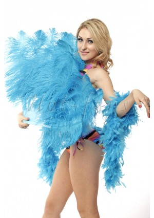 "Turquoise single layer Ostrich Feather Fan Burlesque friend 25""x45"" with gift box"