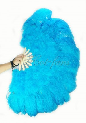 """turquoise Ostrich & Marabou Feathers fan Burlesque dance with carrying case 27""""x 53"""""""