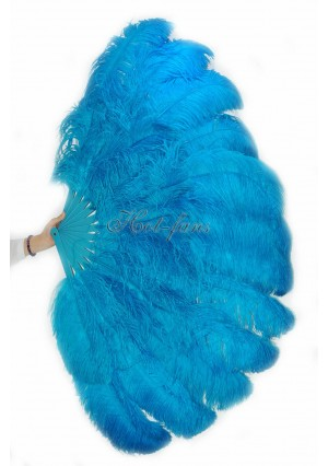 """turquoise XL 2 layers Ostrich Feather Fan Burlesque dancer friends 34""""x 60"""" with gift box"""