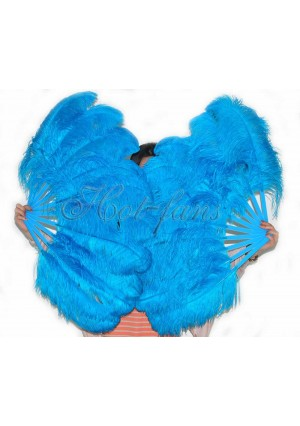 """A pair turquoise Single layer Ostrich Feather fan 24""""x41"""" burlesque dancer with gift box"""