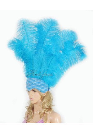 turquoise Sharp Angle Ostrich Feathers Open Face  Headgear Headdress