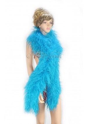 """10 plys Turquoise Luxury Ostrich Feather Boa 71""""long (180 cm)"""