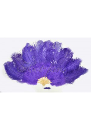 "violet Ostrich & Marabou Feathers fan Burlesque dance with carrying case 24""x43"""