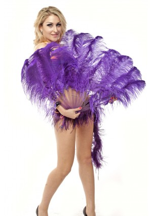 "violet single layer Ostrich Feather Fan Burlesque friend 25""x45"" with gift box"