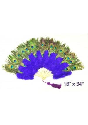 violet Double faced Peacock Eye Marabou Feather Fan
