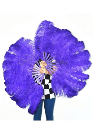 "A pair violet Single layer Ostrich Feather fan 24""x41"" burlesque dancer with gift box"