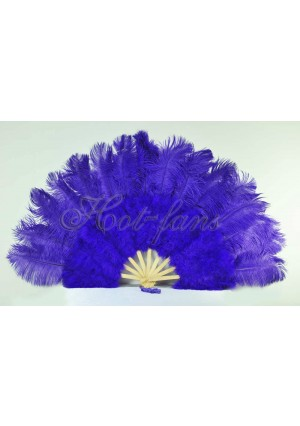 "violet Marabou Ostrich Feather fan primary Burlesque Dance 21""x38"" with gift box"
