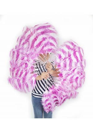 "A pair secondary hotpink & white color Single layer Ostrich Feather fan 24""x41"" burlesque dancer with gift box"