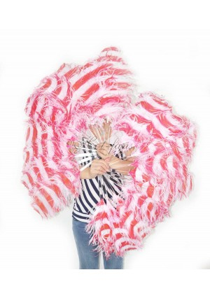 """A pair secondary red & white color Single layer Ostrich Feather fan 24""""x41"""" burlesque dancer with gift box"""