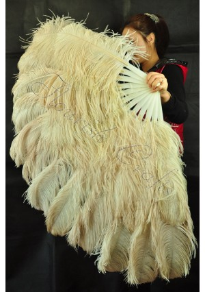 "Wheat  XL 2 layers Ostrich Feather Fan Burlesque dancer friends 34""x 60"" with gift box"