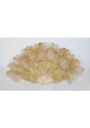 """wheat Marabou Ostrich Feather fan primary Burlesque Dance 21""""x38"""" with gift box"""