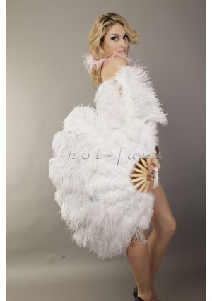 """White Ostrich  Marabou Feathers fan Burlesque dance with carrying case 24""""x43"""""""