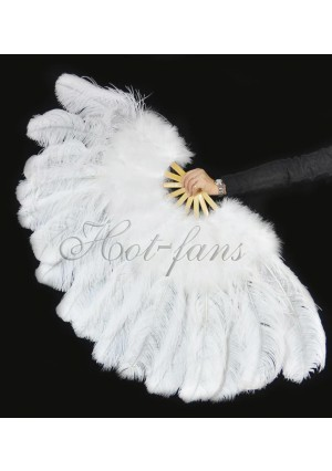 "White Ostrich & Marabou Feathers fan Burlesque dance with carrying case 27""x 53"""
