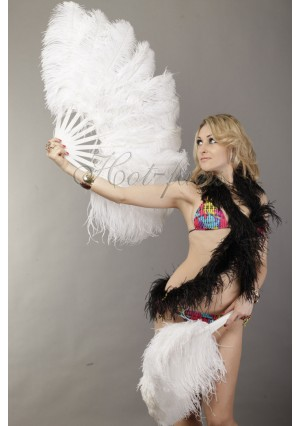 """white single layer Ostrich Feather Fan Burlesque friend 25""""x45"""" with gift box"""