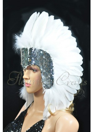 White feather sequins crown las vegas dancer showgirl headgear headdress