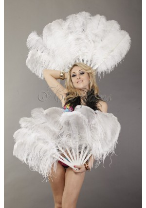 "A pair white Single layer Ostrich Feather fan 24""x41"" burlesque dancer with gift box"
