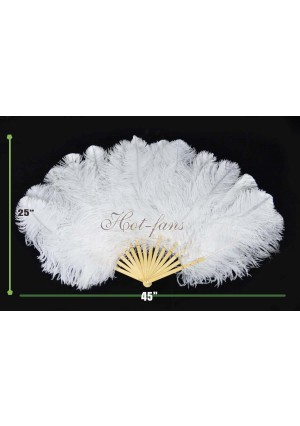 """White single layer Ostrich Feather Fan with 14 bamboo staves 25""""x 45"""" with gift box Burlesque friend"""