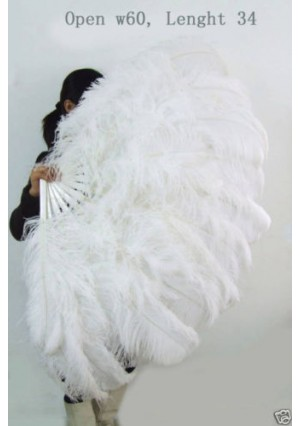 """white  XL 2 layers Ostrich Feather Fan Burlesque dancer friends 34""""x 60"""" with gift box"""