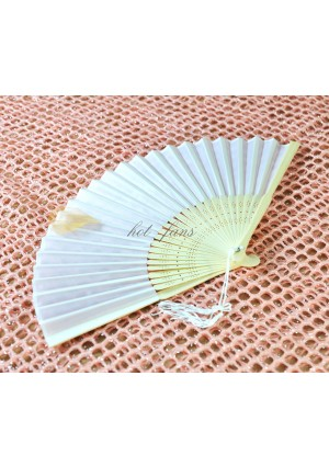 lot of 10 white lady plain silk hand fans in Organza Gift bag wedding party