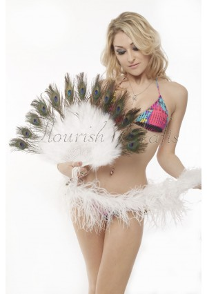 white Double faced Peacock Eye Marabou Feather Fan engraved plastic frame