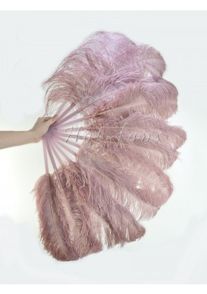 "Beige wood single layer Ostrich Feather Fan Burlesque friend 25""x45"" with gift box"