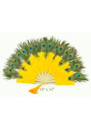 yellow Double faced Peacock Eye Marabou Feather Fan