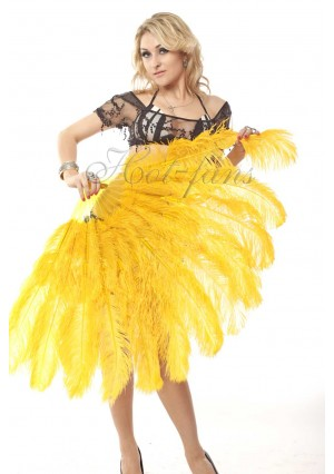 """gold yellow 2 layers Ostrich Feather Fan Burlesque dancer friends 30""""x 54""""  with gift box"""