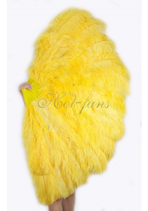 """Gold yellow 3 Layers Ostrich Burlesque Feather Fan 65"""" dance friend with gift box"""