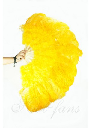 "Gold yellow Ostrich & Marabou Feathers fan Burlesque dance with carrying case 27""x 53"""