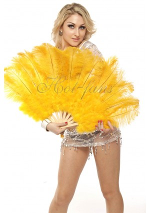 """yellow Marabou Ostrich Feather fan primary Burlesque Dance 21""""x38"""" with gift box"""
