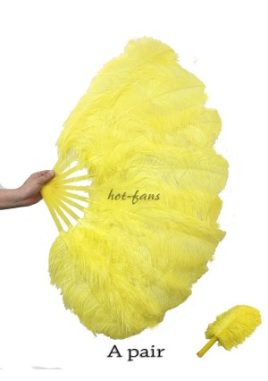 "A pair yellow Single layer Ostrich Feather fan 24""x41"" burlesque dancer with gift box"