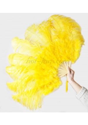 """Gold Yellow Ostrich & Marabou Feathers fan Burlesque dance with carrying case 24""""x43"""""""