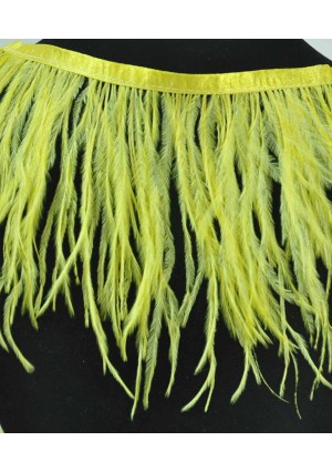 "Ostrich Feather Fringe (182 cm ) 2 yard trim 5""-6"" (13cm-15cm) in yellow Color"