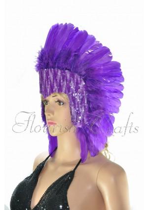 dark purple feather sequins crown las vegas dancer showgirl headgear headdress