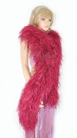 "Burgundy 20 plys full and fluffy Luxury Ostrich Feather Boa 71""long (180 cm)"