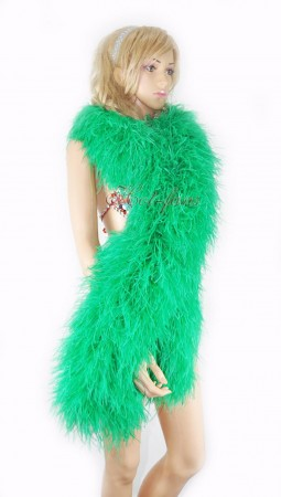 "Emerald green 20 plys full and fluffy Luxury Ostrich Feather Boa 71""long (180 cm)"