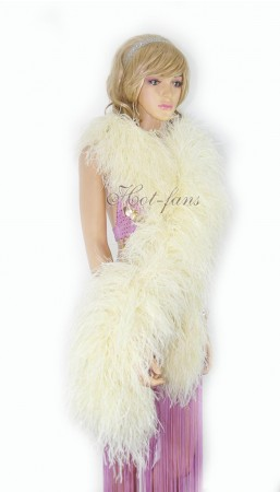 """Beige 20 plys full and fluffy Luxury Ostrich Feather Boa 71""""long (180 cm)"""