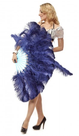 "navy 2 layers Ostrich Feather Fan Burlesque dancer friends 30""x 54"" with leather travel Bag"